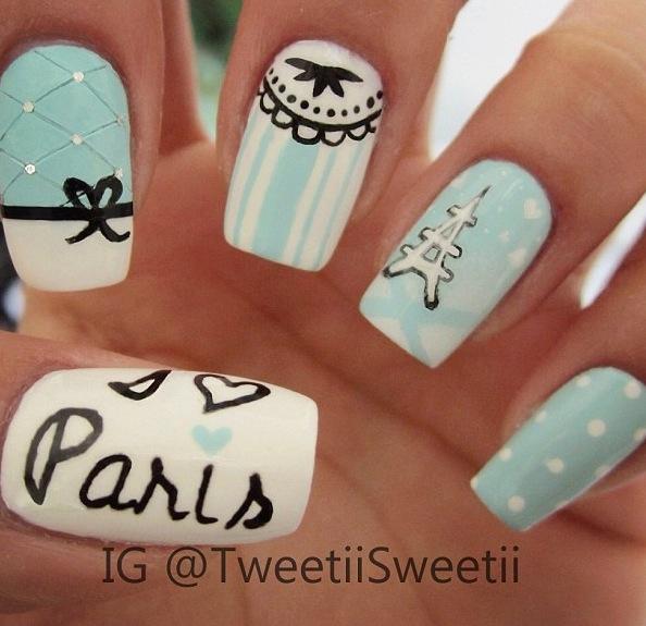 Traveling Tiffany Blue Paris Nails
