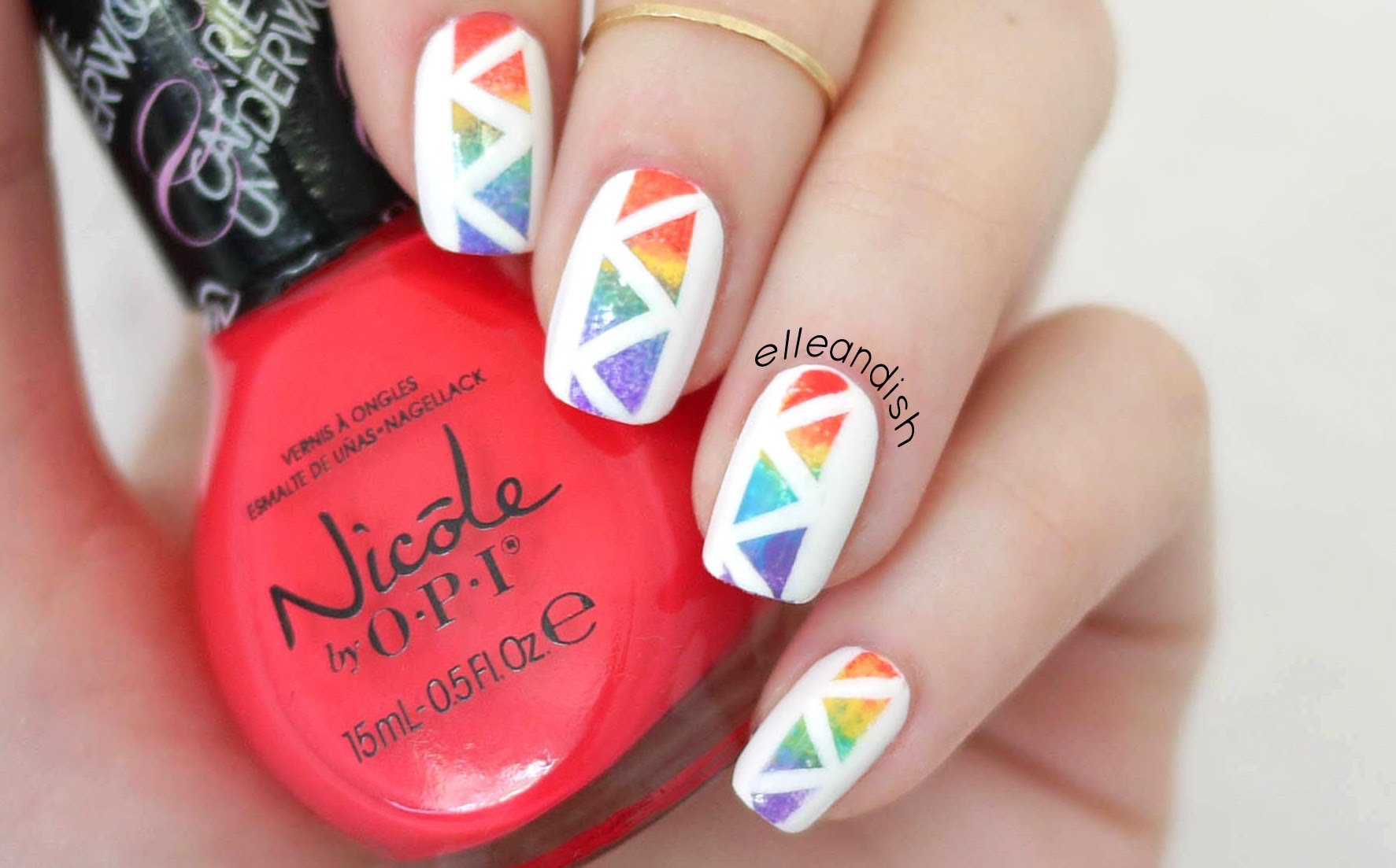 Try Out This Awesome Geometric Rainbow Nail Design