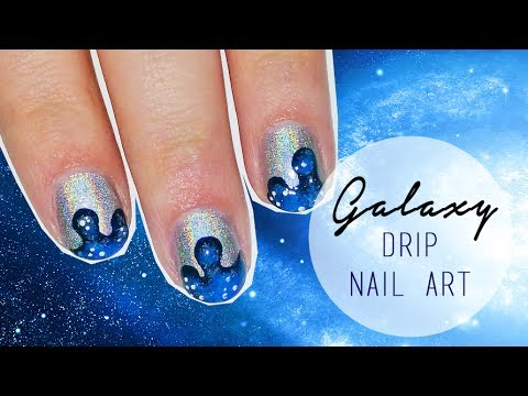 Get Creative With This Awesome Holographic Galaxy Drip Nail Art
