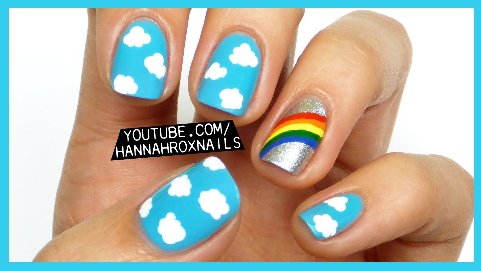 Try Out This Ridiculously Cute Rainbow Clouds Nail Art