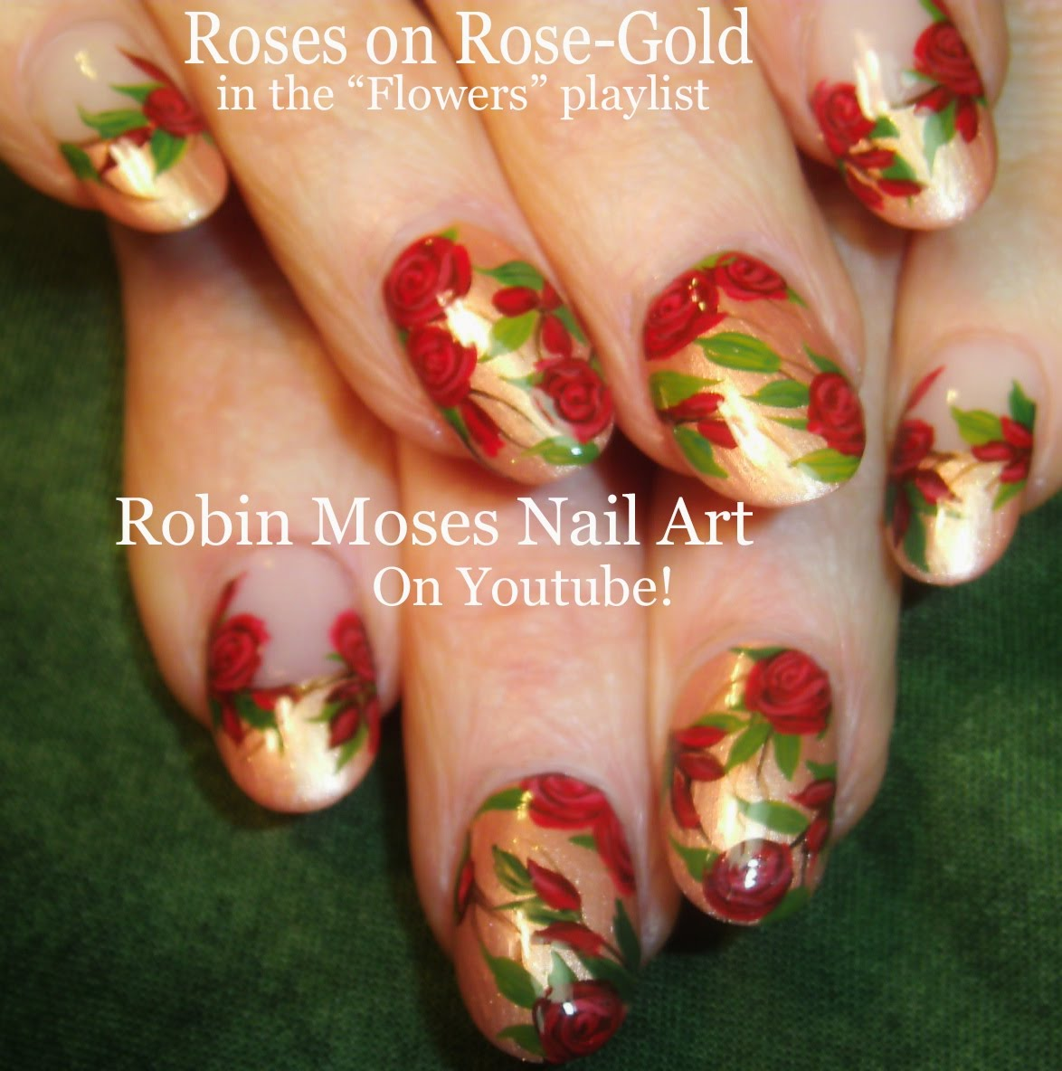 Show Off You Nail Art Skills With This Easy Red Rose Nail Art Design