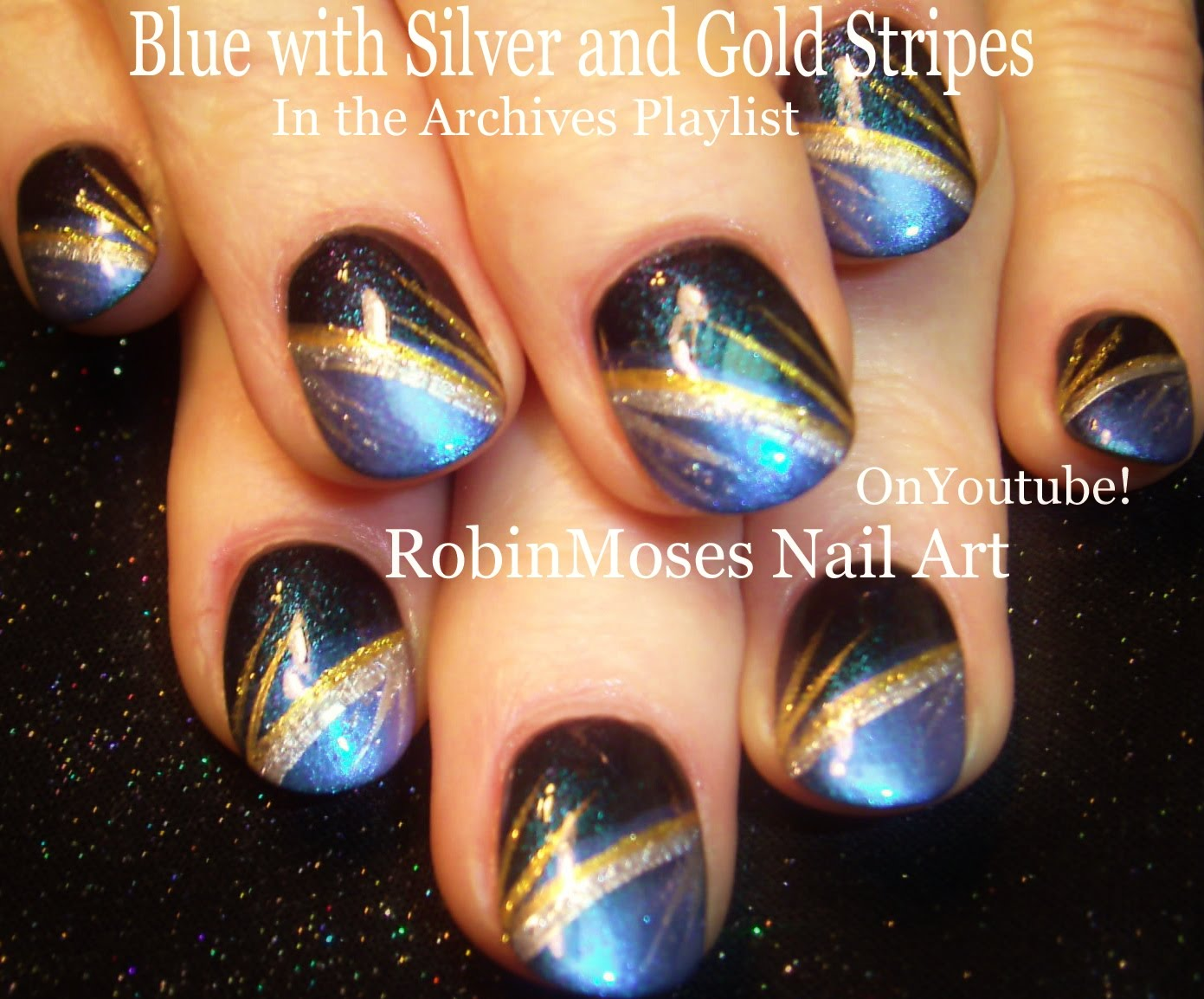 These Blue Nails With Silver Gold Stripes Are A Super Fun Nail Art Design