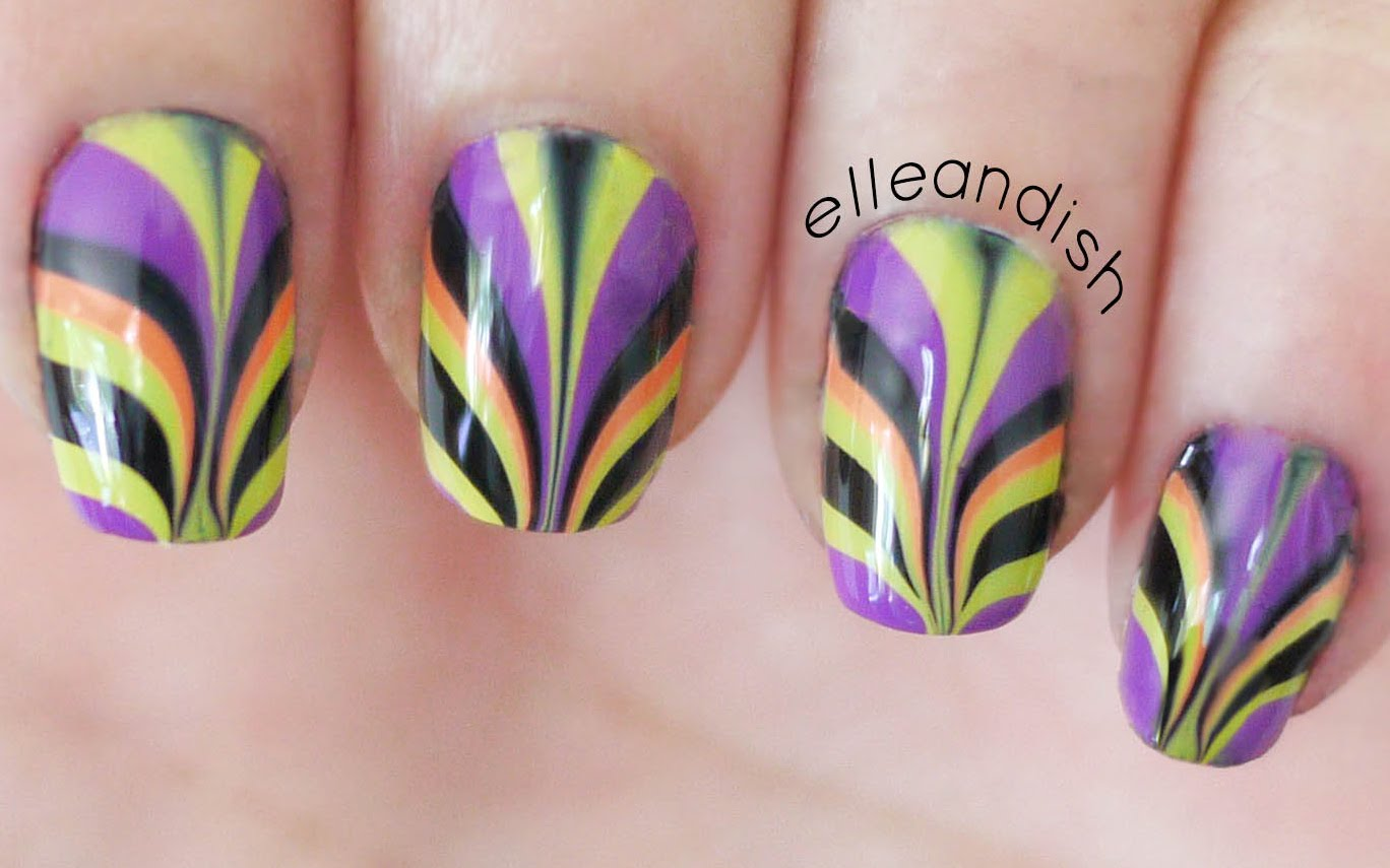 These Awesome Colorful Watermarble Designed Nails Are Super Awesome!