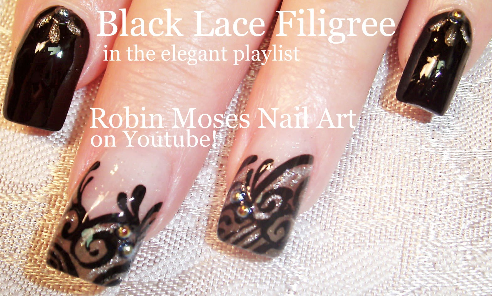 Try This Amazing Formal Black Lace Nail Art Design