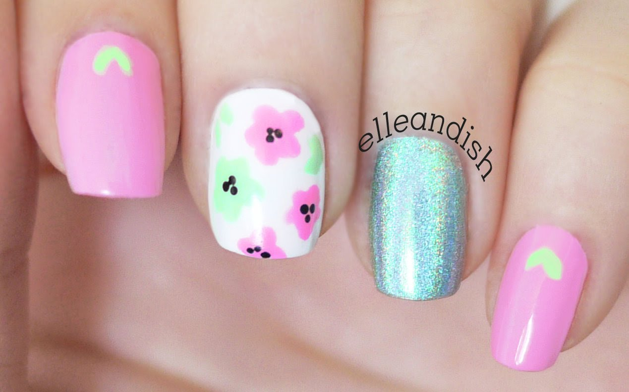 Try This Pretty Pink Mint Floral Nail Design That Will Leave You