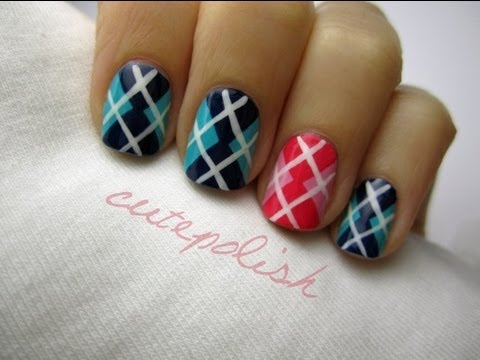 This Argyle Nail Art Is A Perfect Everyday Nail Design
