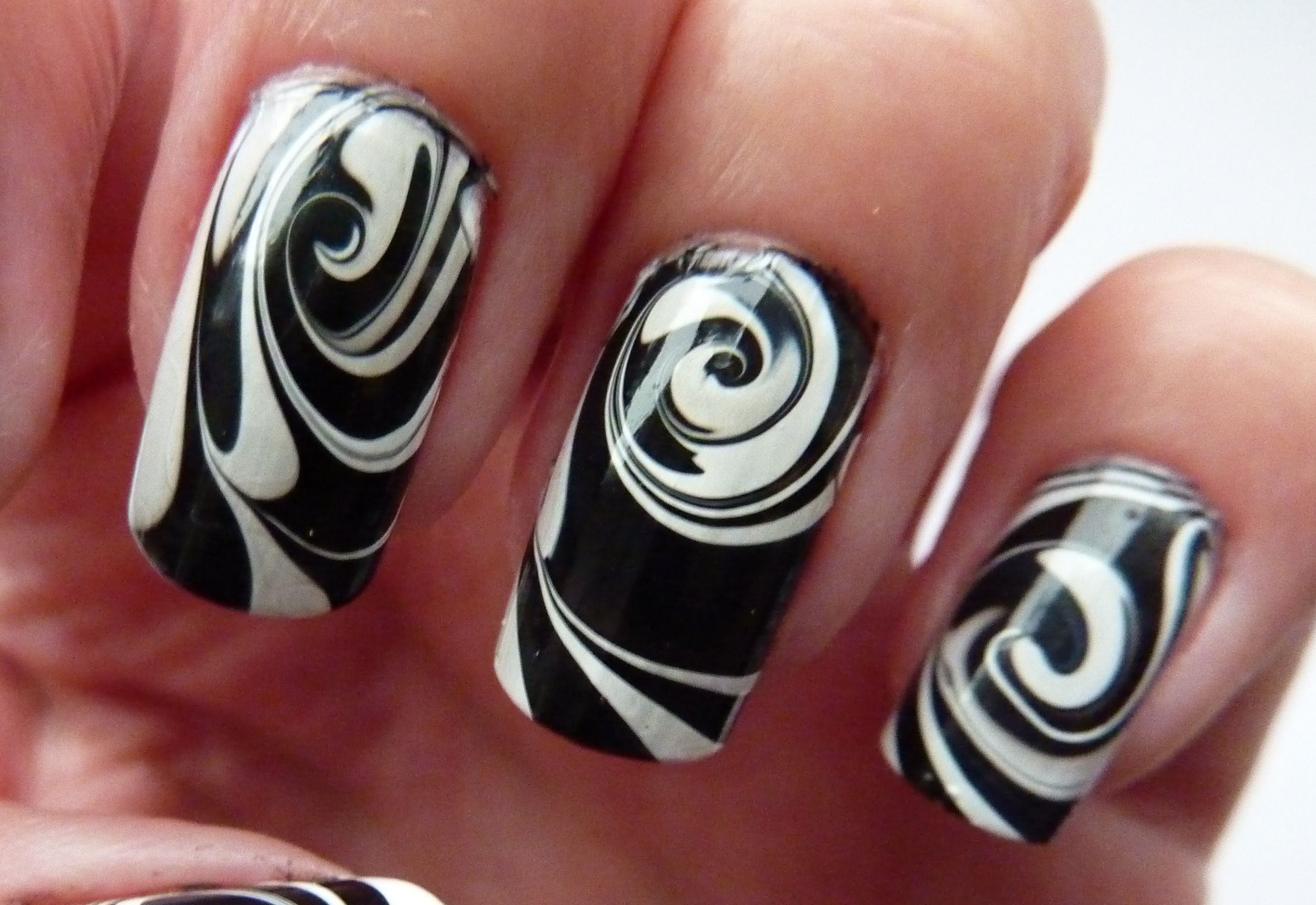 This Beautiful Water Marble Nail Art Design Is Hypnotizing!