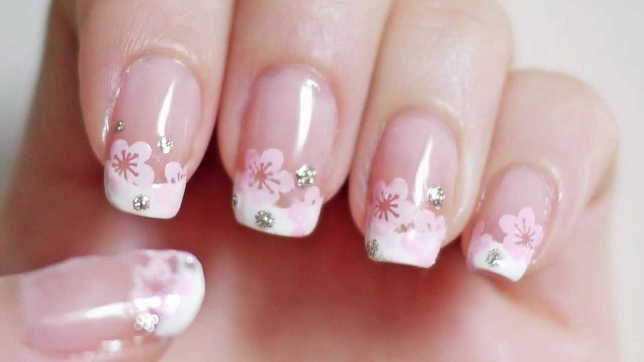 This Dainty Cherry Blossom French Manicure Is A Beautiful Every Day ...
