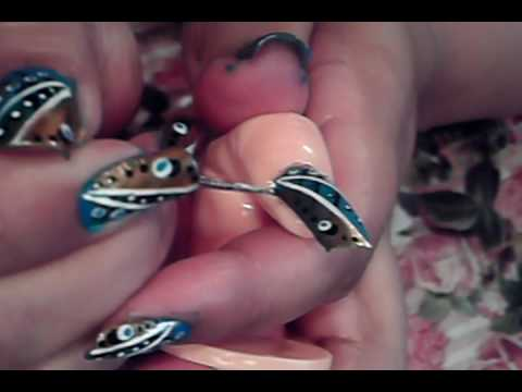 Try Out This Funky Blue Black White Gold Nail Art Design