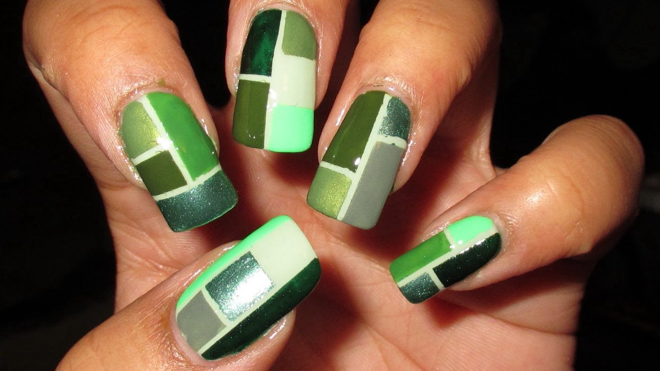 Fall In Love With This Green Color Block Nail Art Design