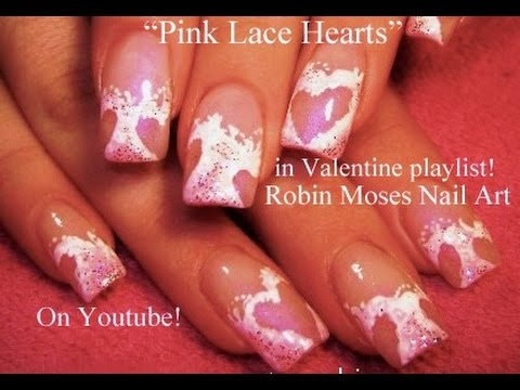 This Pink Cut Out Lace Heart Nail Design Is A Fun And Flirty Look