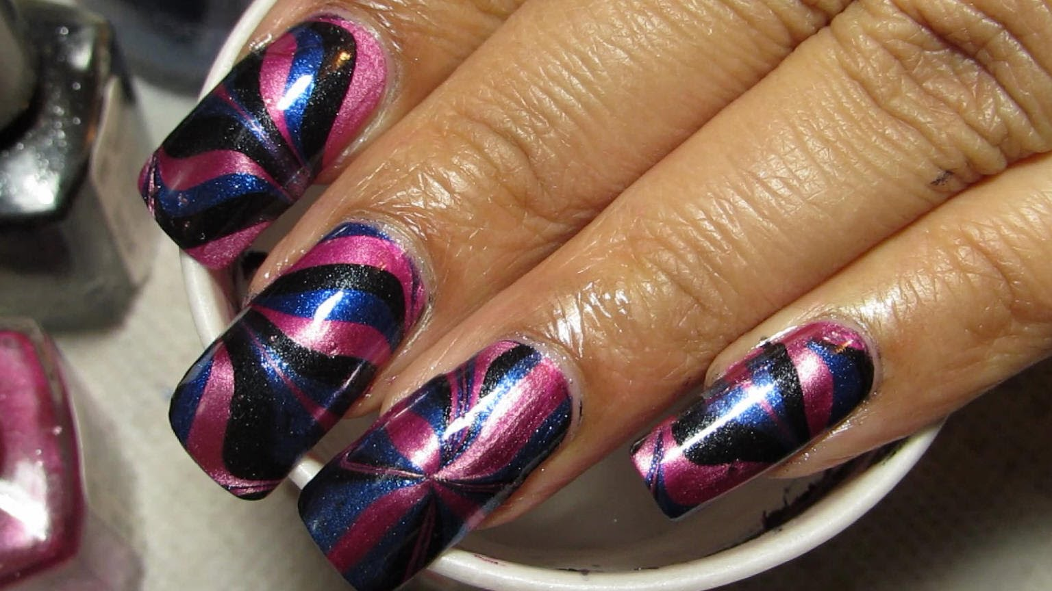 Try Out This Gorgeous Versatile Metallic Pink Black Blue Water Marble Nail Art