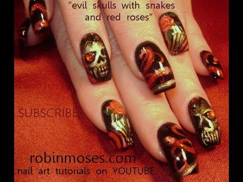 Show Off Your Darker Side With This Skull Nail Art With Roses and ...